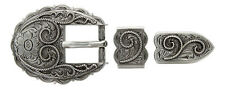 "Western Silver Scalloped Roped Buckle Set Fits 3/4"" Leather"