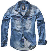 Brandit Herren Riley Denimshirt Jeanshemd 4020 Hemd Denim Langarm Freizeithemd U