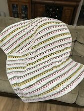 """Crocheted Throw Afghan Blanket Knit Hand-made Rectangular Pastels 42""""x 38"""""""