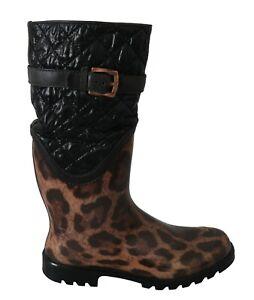 DOLCE & GABBANA Shoes Boots Black Brown Leopard Booties EU38 / EU37 RRP $700