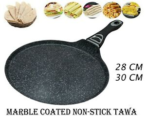 Non Stick Crepe Pan Marble Coated Roti Dosa Tawa Pancake Maker Induction Gas Hob