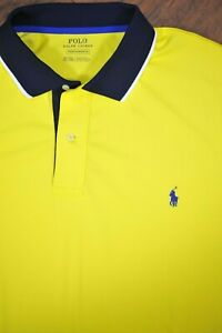 Polo Ralph Lauren Performance Polo Shirt Yellow Navy Men's 2XLT
