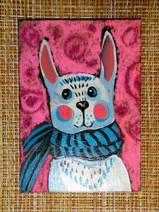 ACEO original pastel painting outsider folk art brut #010547 surreal rabbit