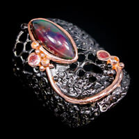 Black Opal Ring Silver 925 Sterling Handmade Jewelry Unique Size 8.5 /R144401