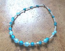 Perlen Kette Halskette Collier Polarisperlen türkis  blau Neu....