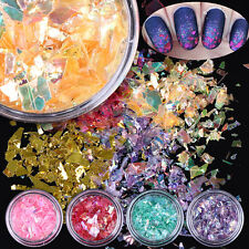 12Colors ICED MYLAR SHEETS NAIL ART Glitter Dust Powder Tip Sheets 3D Decoration