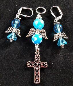Blessed angel earrings & pendant cross sets handmade Silver plate Blue Polka dot