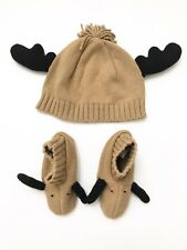 Gymboree Baby Girl Boy Reindeer Beanie And Booties Size 3-6 Months