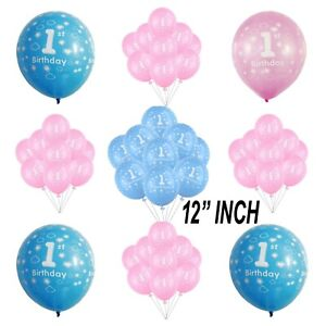 """Blue Boy's Pink Girl's 1st Birthday Party Pearlised 12"""" Latex Printed AIR/HELIUM"""