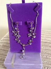 BRIDAL/BRIDESMAID SILVER TONE & LILAC STONE NECKLACE & EARRING SET - BOXED