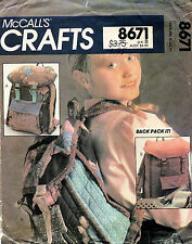 1980's VTG McCall's Children's Backpack Pattern 8671 UNCUT