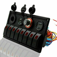 8 GANG LED Rocker Control Switch Panel Car Waterproof Circuit Breaker w/ Lighter