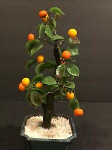 Glass Orange Tree Pottery Planter Figure Made in Japan W/Box