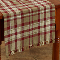 """Park Designs CUMBERLAND Country 13""""x36"""" Table Runner - Wine, Brown Taupe, Cream"""