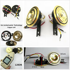 2 Pcs Car Waterproof 130db Golden Grille Compact Super Tone Holzer Electric Horn
