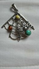 silver pendant with turquoise and amber,spider and net design