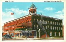 Bryan Ohio~Christman Hotel~Fire Escape to Roof~Vintage Cars~1929 PC