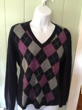 Simply Cashmere Navy Purple Argyle 100% Cashmere Crewneck Pullover Sweater XL