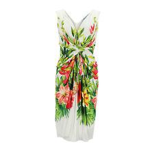 Blumarine Vestido Blanco Mujer Colorido Estampado Flores Viscosa Talla 38 ( Ehem