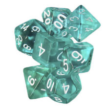 7 Pcs Turquoise Polyhedral Set Cloud Drop Translucent Teal RPG DnD With Dice Bag