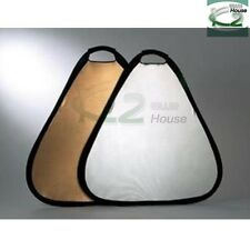 """Photography 2in1 24"""" Handheld Triangular Collapsible Light Reflector Gold Silver"""