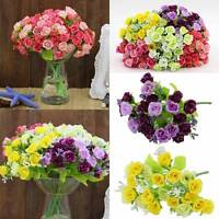 1 Bouquet 21 Head Artifical Plastic Rose Office Wedding Home Decor Silk Flower