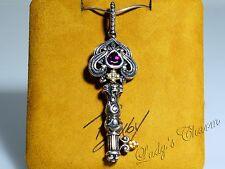 Barbara Bixby Garnet Key Pendant Sterling Silver 18K Gold ENHANCER
