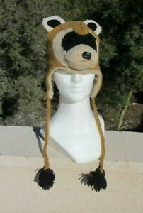 deLux tag tan FERRET HAT knit ADULT meerkat sloth FLC LINED cap COSTUME opossum