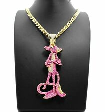"""HIP HOP ICED LAB DIAMOND GOLD PLATED PINK PANTHER & 6mm 30"""" CUBAN CHAIN NECKLACE"""