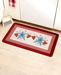 Primitive Hearts & Stars Kitchen Mat Patchwork Berries Folk Art Country Bath Rug