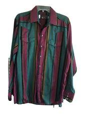 New listing Vintage 90's Mens 16.5x35 Long Panhandle Slim Western Shirt Rockabilly Striped