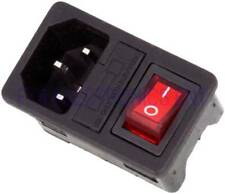 IEC320 C14 Red Light Rocker Switch Fused fuse Inlet Male Connector Plug 125V 10A