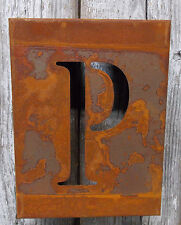 """LETTER """"P"""" RUSTY FINISH 8"""" LASER CUT METAL BLOCK LETTER RUSTIC DECOR RUSTED SIGN"""