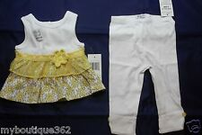 GUESS BABY GIRLS SET YELLOW MULTI SZ 6-9 MOS (TOP AND LEGGINGS) NEW NWT