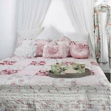 3 Pc Queen Vintage Pink Patchwork Quilt Shabby Floral Chic Bed Set Retail $319