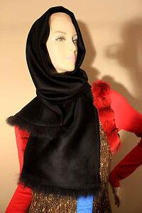 """LORO PIANA® 100% Cashmere Wrap Scarf w/ Fox Fur Trim 63"""" x10.5"""" ~ $695 value"""