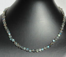 Labradorite Necklace,Precious Stone Necklace,Button,Facetted,Labradorite