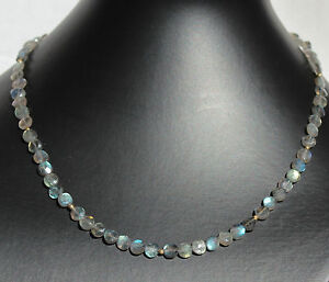 Labradorite Necklace Precious Stone Discs Facetted Grey Blue Women's Noble