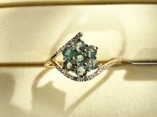 Rare Natural Colour Change Alexandrite & Zircon 10K Y Gold Ring Size R-S/9