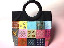 Bag Japanese taste colorful Patchwork embroidery flower Kawaii FS epacket
