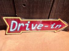 """Drive In This Way To Arrow Sign Directional Novelty Metal 17"""" x 5"""""""