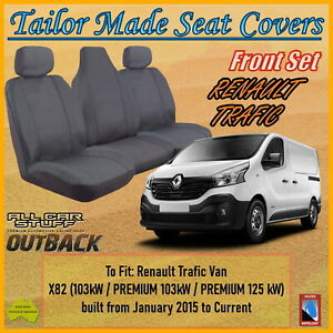 Grey Canvas Seat Covers for Renault Trafic Twin Turbo Van from 01/2015 - Current