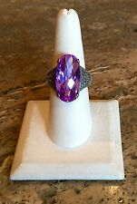 BOLD & BEAUTIFUL STERLING SILVER LAVENDER AUSTRIAN CRYSTAL & MARCASITE RING