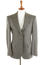 LUCIANO BARBERA Womens Blazer Sz 4 (IT40) in Sage Green Gold Glen Plaid Wool