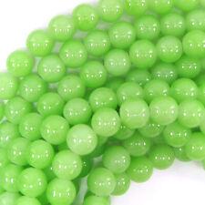 "10mm glass round beads 14.5"" strand light green"