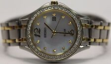*NEW* Seiko Solar Ladies Crystal MOP Dial Two Tone Bracelet Watch SUT312