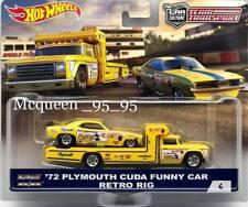 HOT WHEELS 2018 CAR CULTURE TEAM TRANSPORT '72 PLYMOUTH CUDA FUNNY CAR RETRO RIG