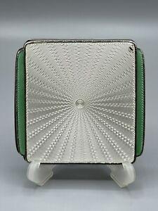 Art Deco 1936 Solid Silver & Guilloche Enamel Compact Goldsmiths & Silversmiths