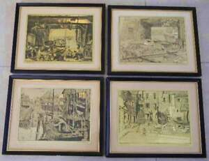 4 LIONEL BARRYMORE FRAMED GOLD FOIL ETCHINGS ART