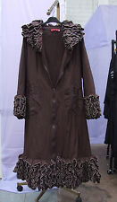 Absolutely Amazing Zip Up Long Ladies Flamboyant Quirky Chocolate Brown Coat M/L